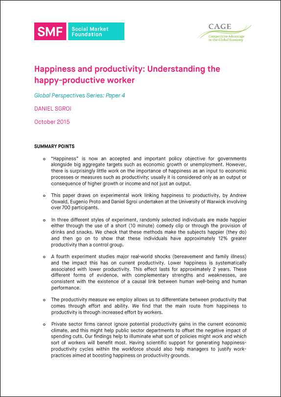 does the happy-productive worker thesis apply to managers Abstract: purpose ‐ the purpose of this paper is to emanate from an enduring stream of research into individual performance and organisational productivity where happy employees are believed to perform better decades of research have been unable to establish a strong link between workplace happiness and performance a variation on the enduring employee happiness-productivity debate is.