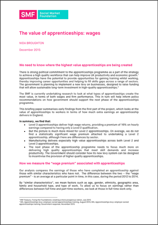 The value of apprenticeships: Beyond wages - Social Market Foundation